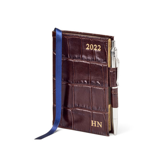 Mini Pocket Diary with Pen in Amazon Brown Croc from Aspinal of London