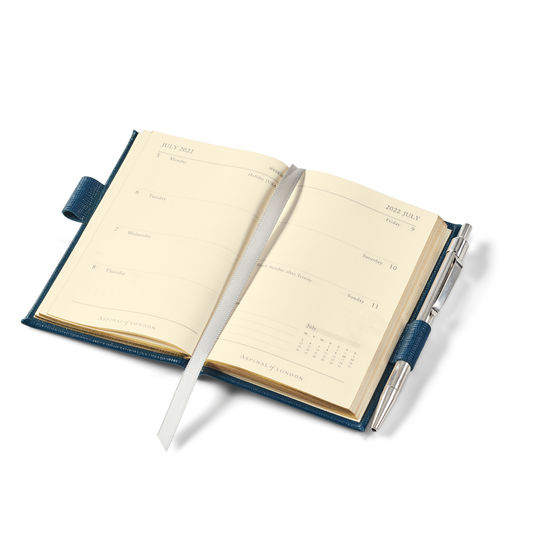 Mini Pocket Diary with Pen in Navy Pebble from Aspinal of London