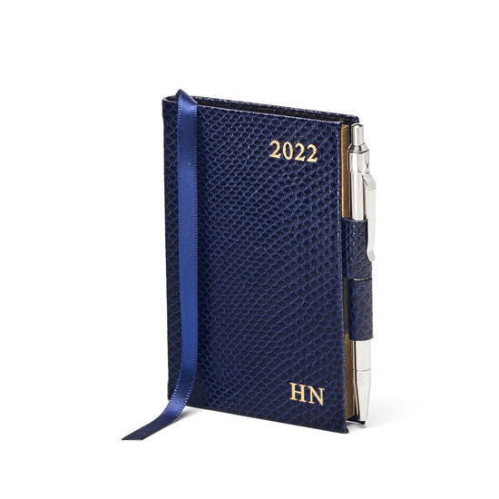 Mini Pocket Diary with Pen in Midnight Blue Lizard from Aspinal of London