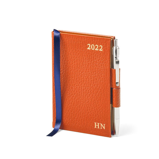 Mini Pocket Diary with Pen in Marmalade Pebble from Aspinal of London