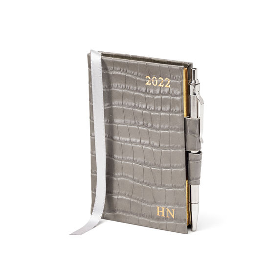 Mini Pocket Diary with Pen in Warm Grey Small Croc from Aspinal of London