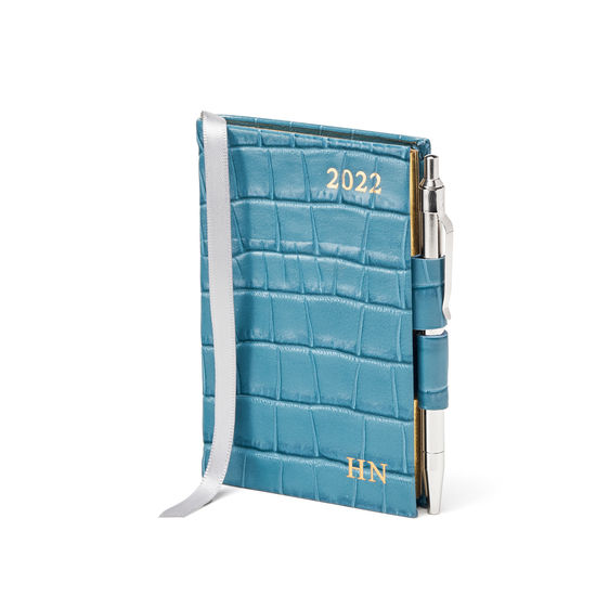 Mini Pocket Diary with Pen in Cornflower Small Croc from Aspinal of London