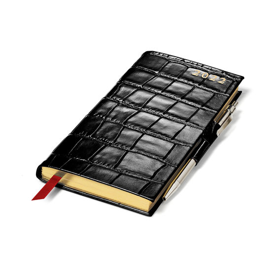 Slim Pocket Diary with Pen in Black Croc from Aspinal of London