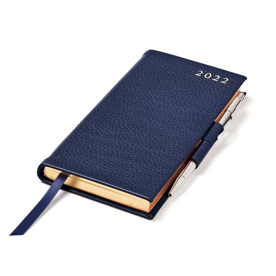 Slim Pocket Diary with Pen in Navy Pebble from Aspinal of London
