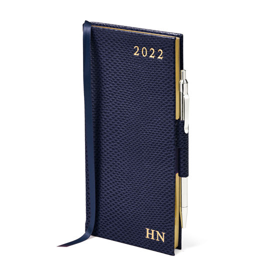 Slim Pocket Diary with Pen in Midnight Blue Lizard from Aspinal of London