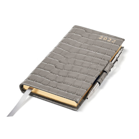 Slim Pocket Diary with Pen in Warm Grey Small Croc from Aspinal of London