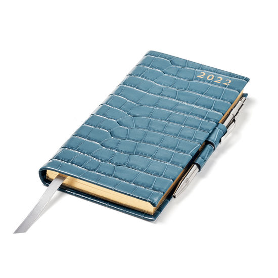Slim Pocket Diary with Pen in Cornflower Small Croc from Aspinal of London