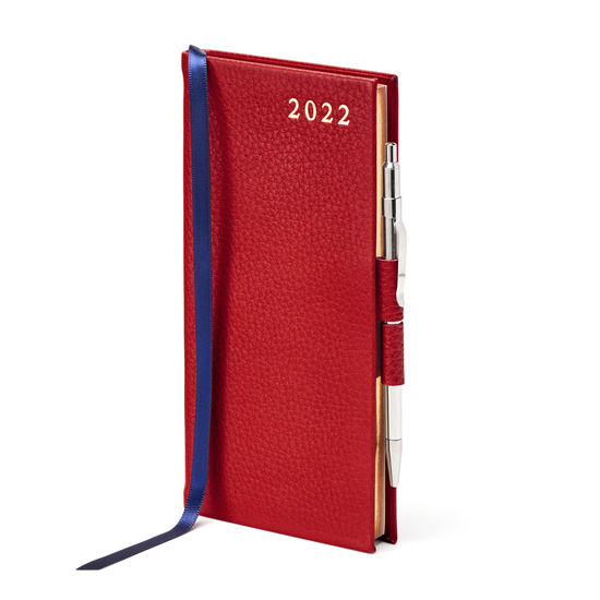 Slim Pocket Diary with Pen in Cherry Pebble from Aspinal of London