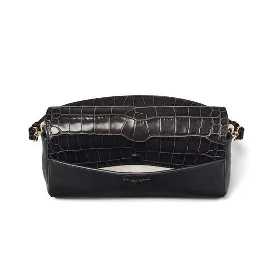Hampton Bag in Black Double Croc from Aspinal of London