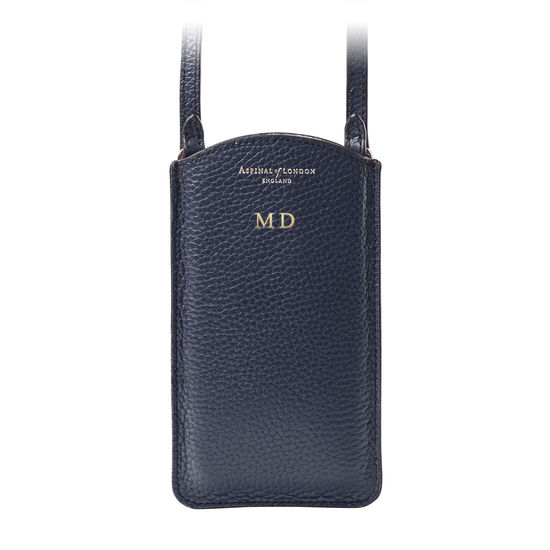 London Phone Case in Navy Pebble from Aspinal of London