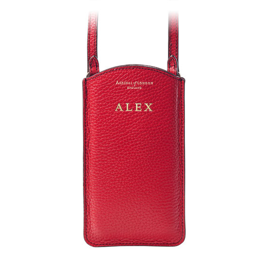 London Phone Case in Cherry Pebble from Aspinal of London