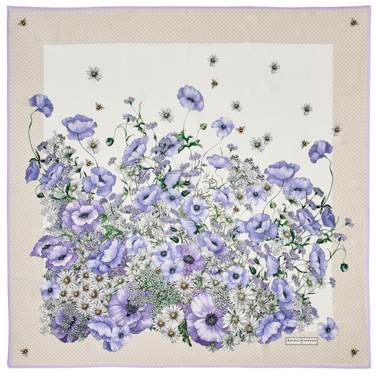 Polka Dot Poppy Giant Silk Scarf in English Lavender Pure Silk from Aspinal of London
