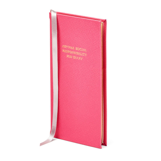 Aspinal Social Responsibility Diary in Bright Pink Saffiano from Aspinal of London