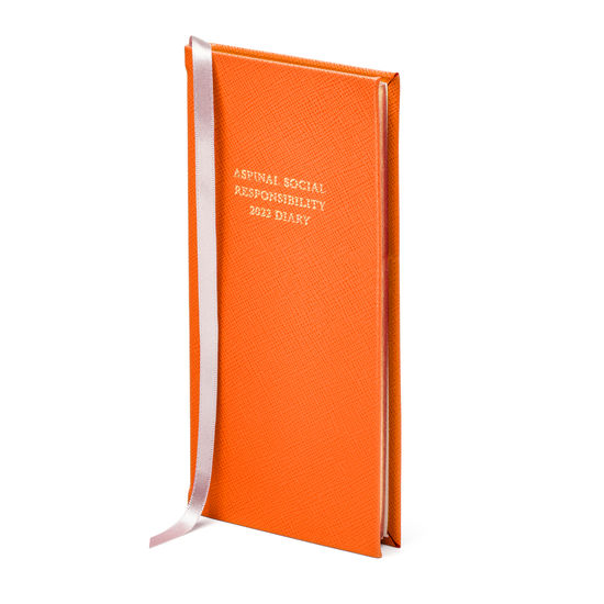 Aspinal Social Responsibility Diary in Bright Orange Saffiano from Aspinal of London