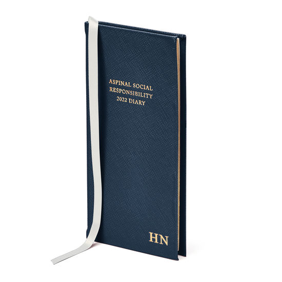Aspinal Social Responsibility Diary in Navy Saffiano from Aspinal of London