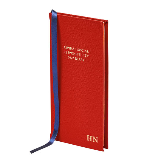 Aspinal Social Responsibility Diary in Scarlet Saffiano from Aspinal of London