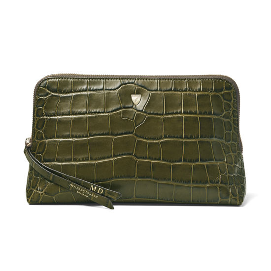 Large Essential Cosmetic Case in Khaki Double Croc from Aspinal of London