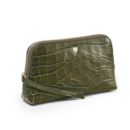 Small Essential Cosmetic Case in Khaki Double Croc from Aspinal of London