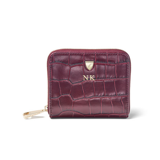 Slim Mini Continental Purse in Bordeaux Croc from Aspinal of London
