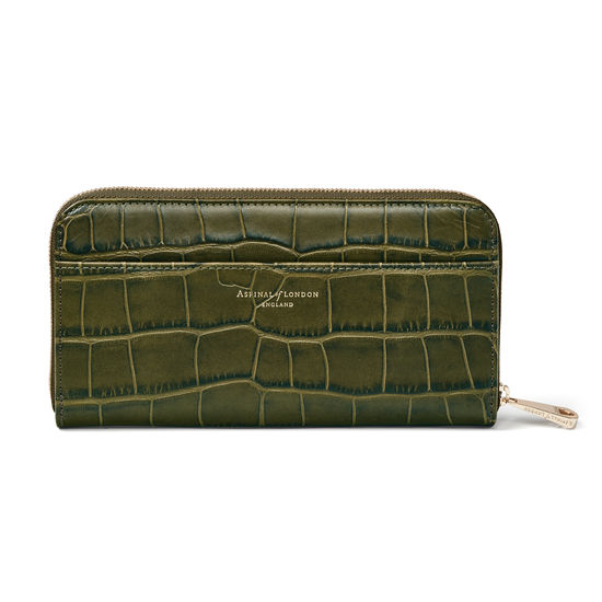 Continental Purse in Khaki Double Croc from Aspinal of London