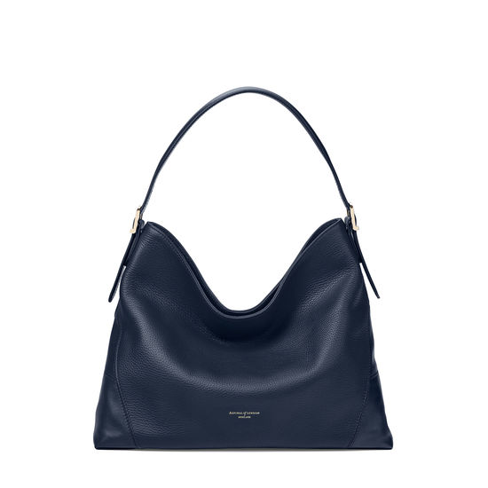 Aspinal Hobo Bag in Navy Pebble from Aspinal of London