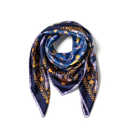 Butterfly Silk Scarf in Navy Pure Silk from Aspinal of London