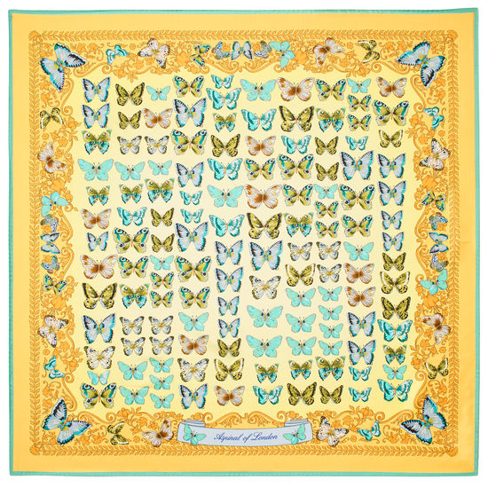 Butterfly Silk Scarf in Meadow Pure Silk Twill from Aspinal of London