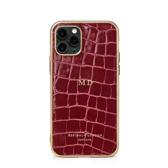 iPhone 11 Pro Case in Bordeaux Patent Croc from Aspinal of London