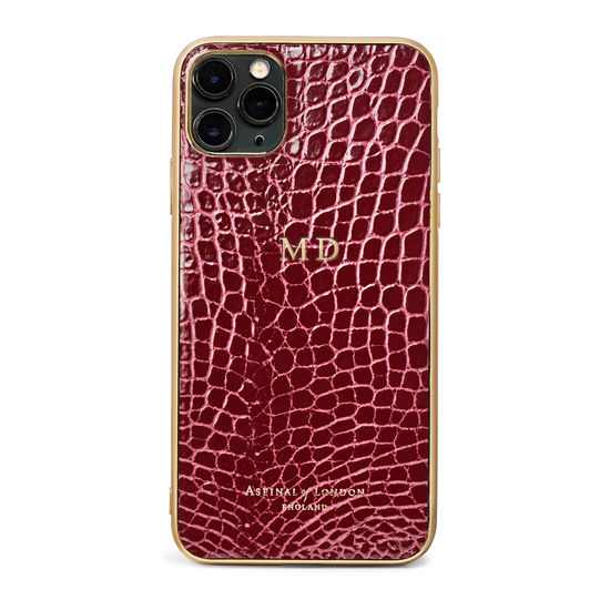 iPhone 11 Pro Max Case in Bordeaux Patent Croc from Aspinal of London