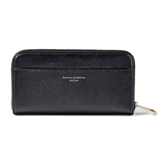 Continental Purse in Black Saffiano from Aspinal of London