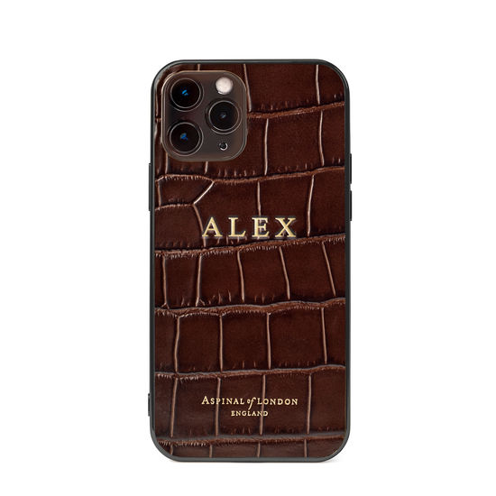 iPhone 12 / 12 Pro Case in Deep Shine Amazon Brown Croc from Aspinal of London