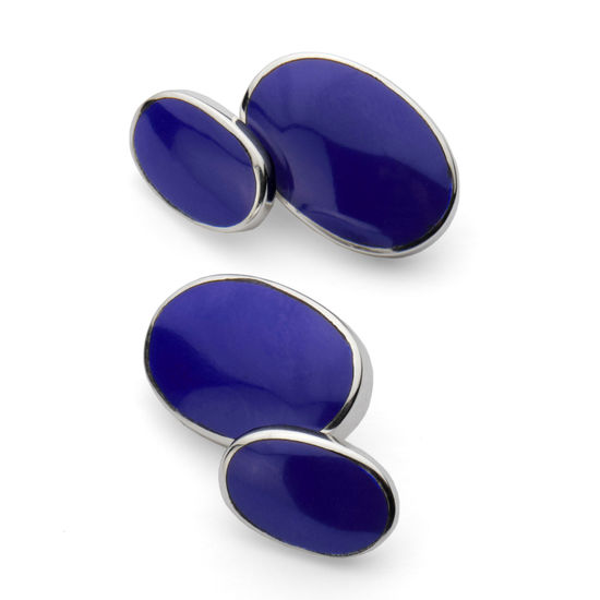 Oval Sterling Silver & Blue Lapis Cufflinks from Aspinal of London