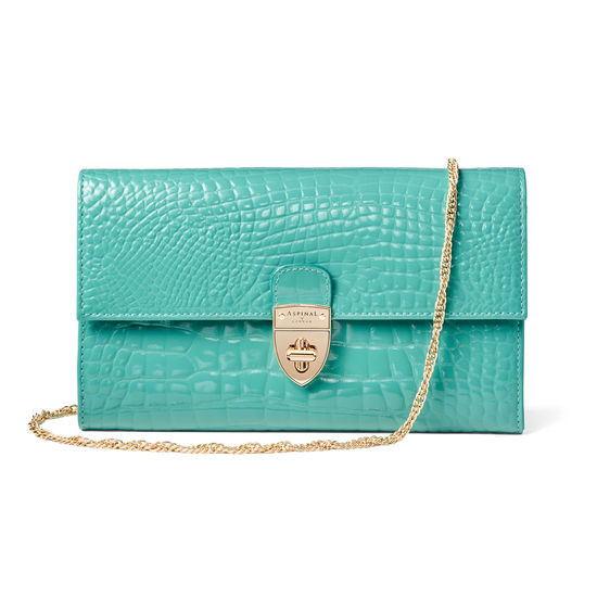 Mayfair Clutch in Chalkhill Patent Croc from Aspinal of London