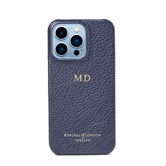 iPhone 13 Pro Case in Navy Pebble from Aspinal of London