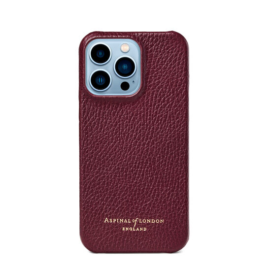 iPhone 13 Pro Case in Burgundy Pebble from Aspinal of London
