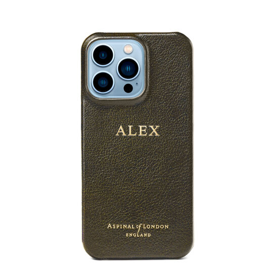 iPhone 13 Pro Case in Khaki Pebble from Aspinal of London