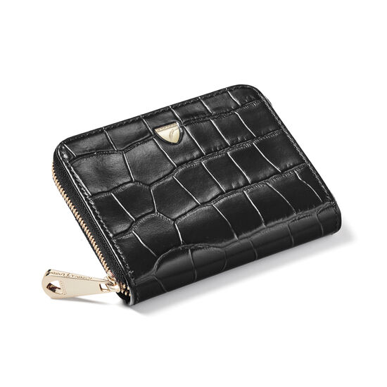Slim Mini Continental Purse in Black Croc from Aspinal of London