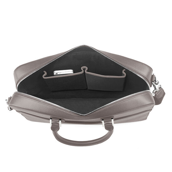 Small Mount Street Laptop Bag in Grey Saffiano from Aspinal of London