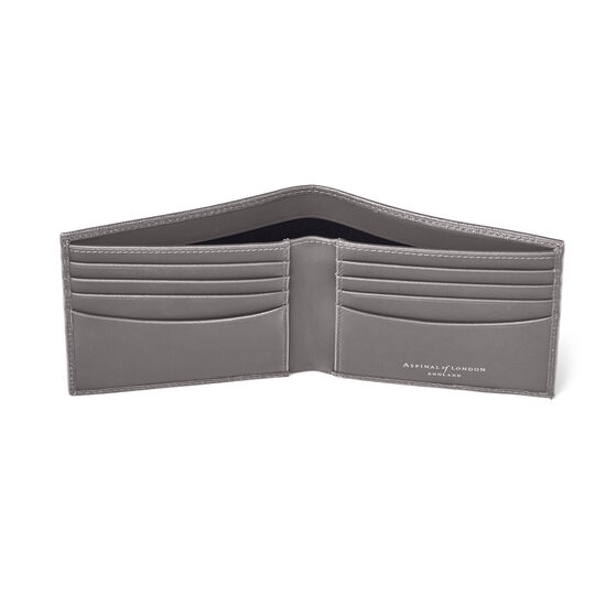8 Card Billfold Wallet in Grey Saffiano from Aspinal of London