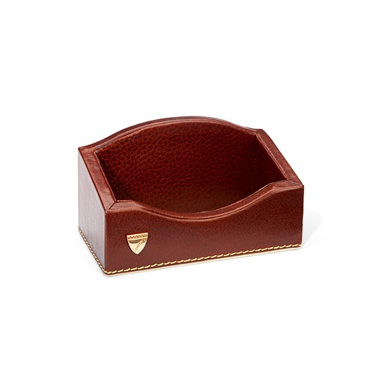 Business Card Holder in Smooth Cognac & Stone Suede from Aspinal of London