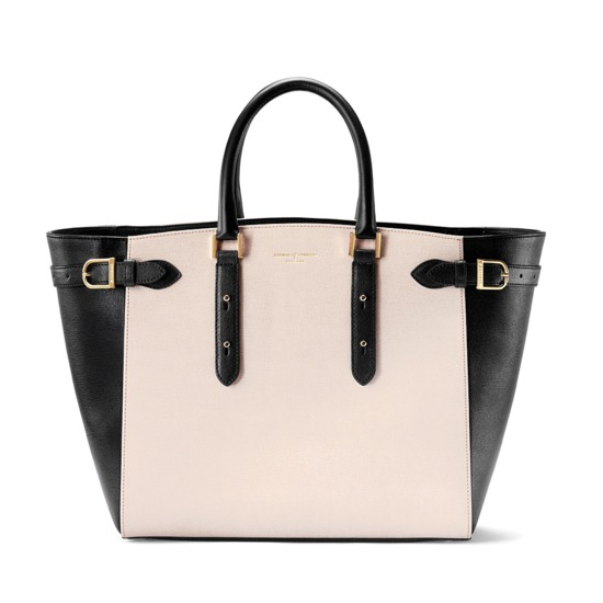 Marylebone Tote in Monochrome Saffiano from Aspinal of London