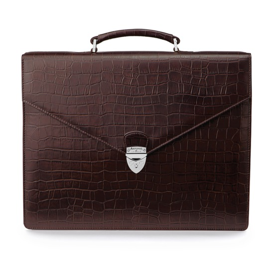 Executive Laptop Briefcase in Brown Matt Croc & Stone Suede from Aspinal of London