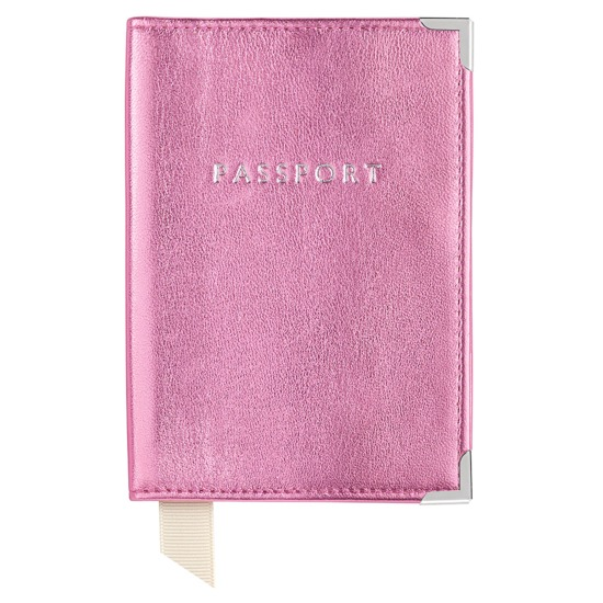 Passport Cover in Metallic Pink Nappa from Aspinal of London