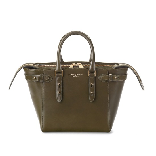 Mini Marylebone Tote in Smooth Moss Green from Aspinal of London