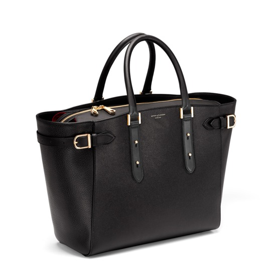 Marylebone Tote in Black Pebble & Smooth Black from Aspinal of London