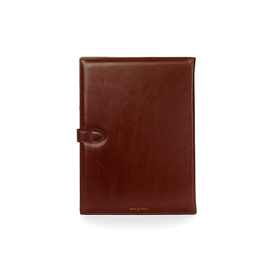 A4 Padfolio in Smooth Cognac & Espresso Suede from Aspinal of London