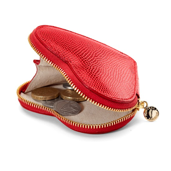 Heart Coin Purse in Red Lizard & Cream Suede from Aspinal of London