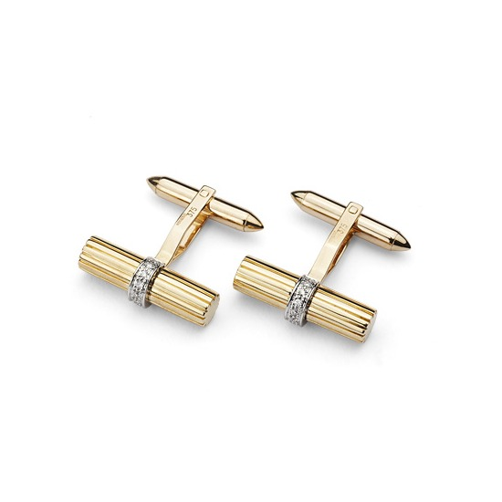 Rifle Barrel Cufflinks Gemset with Cluster Diamonds in 9ct Yellow Gold from Aspinal of London