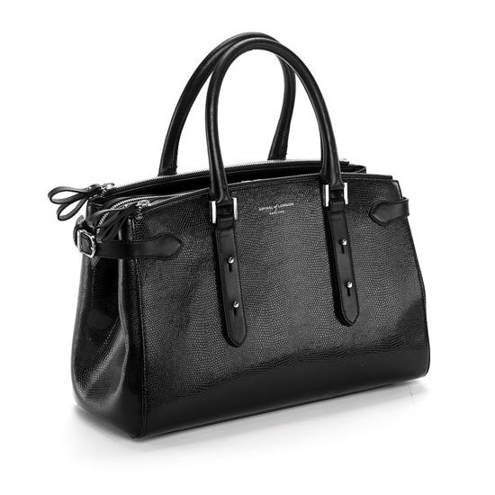 Brook Street Bag in Black Lizard from Aspinal of London