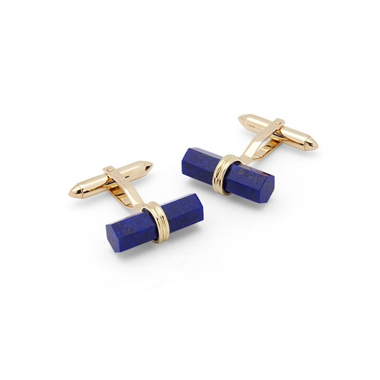 Angled Lapis Lazulite Barrel Cufflinks in 9ct Gold from Aspinal of London